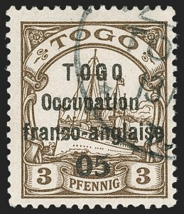 Sale Number 1203, Lot Number 96, French Togo - Second PrintingTOGO (French), 1915, 5c on 3pf Brown, Sansane Mangu Printing (164; Yvert 43), TOGO (French), 1915, 5c on 3pf Brown, Sansane Mangu Printing (164; Yvert 43)