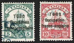 Sale Number 1203, Lot Number 97, French Togo - Second PrintingTOGO (French), 1915, 5pf Green, 10pf Carmine, Sansane Mangu Printing (165-166; Yvert 44-45), TOGO (French), 1915, 5pf Green, 10pf Carmine, Sansane Mangu Printing (165-166; Yvert 44-45)