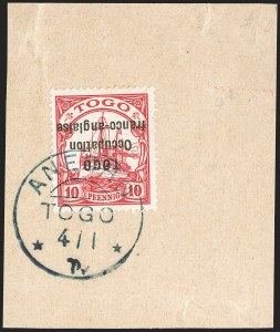 Sale Number 1203, Lot Number 98, French Togo - Second PrintingTOGO (French), 1915, 10pf Carmine, Inverted Overprint, Sansane Mangu Printing (166a; Yvert 45a), TOGO (French), 1915, 10pf Carmine, Inverted Overprint, Sansane Mangu Printing (166a; Yvert 45a)