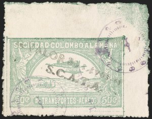 "Sale Number 1204, Lot Number 1000, Colombia Air Post - 1921-23 SurchargesCOLOMBIA, 1921, ""Valor 30 ctvos, S.C.A.D.T.A."" on 50c Pale Green, Air Post Surcharge (Colomphil 10; Scott C21), COLOMBIA, 1921, ""Valor 30 ctvos, S.C.A.D.T.A."" on 50c Pale Green, Air Post Surcharge (Colomphil 10; Scott C21)"