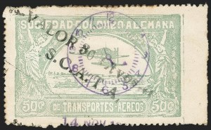"Sale Number 1204, Lot Number 1001, Colombia Air Post - 1921-23 SurchargesCOLOMBIA, 1921, 10c on 50c Pale Green, with ""S.C.A.T.A."" (Colomphil 10; C21b), COLOMBIA, 1921, 10c on 50c Pale Green, with ""S.C.A.T.A."" (Colomphil 10; C21b)"