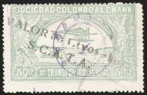 "Sale Number 1204, Lot Number 1002, Colombia Air Post - 1921-23 SurchargesCOLOMBIA, 1921, ""Valor 30 ctvos, S.C.A.D.T.A."" on 50c Pale Green, Air Post Surcharge (Colomphil 10; Scott C21), COLOMBIA, 1921, ""Valor 30 ctvos, S.C.A.D.T.A."" on 50c Pale Green, Air Post Surcharge (Colomphil 10; Scott C21)"