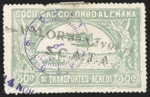 "Sale Number 1204, Lot Number 1003, Colombia Air Post - 1921-23 SurchargesCOLOMBIA, 1921, ""Valor 30 ctvos, S.C.A.D.T.A."" on 50c Pale Green, Double Surcharge (Colomphil 10 var; Scott C21), COLOMBIA, 1921, ""Valor 30 ctvos, S.C.A.D.T.A."" on 50c Pale Green, Double Surcharge (Colomphil 10 var; Scott C21)"