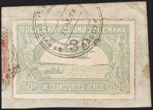 "Sale Number 1204, Lot Number 1004, Colombia Air Post - 1921-23 SurchargesCOLOMBIA, 1921, ""30c"" on 50c Pale Green, Air Post Surcharge (Colomphil 12; Scott C22b), COLOMBIA, 1921, ""30c"" on 50c Pale Green, Air Post Surcharge (Colomphil 12; Scott C22b)"