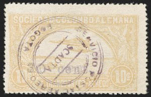 "Sale Number 1204, Lot Number 1016, Colombia Air Post - 1921-23 SurchargesCOLOMBIA, 1921, ""30 cent."" on 10c Yellow, Double Surcharge (Colomphil 26c var; Scott C37 var), COLOMBIA, 1921, ""30 cent."" on 10c Yellow, Double Surcharge (Colomphil 26c var; Scott C37 var)"