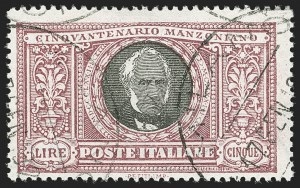 Sale Number 1204, Lot Number 1111, Italy thru PanamaITALY, 1923, 5l Manzoni (170; Sassone 156), ITALY, 1923, 5l Manzoni (170; Sassone 156)