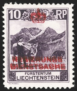 Sale Number 1204, Lot Number 1114, Italy thru PanamaLIECHTENSTEIN, 1932, 10rp Dark Violet, Perforated 10-1/2, Double Overprint (O2c var; Michel 2A var, Zumstein 2A var), LIECHTENSTEIN, 1932, 10rp Dark Violet, Perforated 10-1/2, Double Overprint (O2c var; Michel 2A var, Zumstein 2A var)