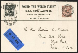 Sale Number 1204, Lot Number 1145, Trans-Oceanic Flights (Chronological by AAMC)1924, April 6-September 28, Round the World Flight by U.S. Army Aviators, Western Leg (AAMC 1025), 1924, April 6-September 28, Round the World Flight by U.S. Army Aviators, Western Leg (AAMC 1025)
