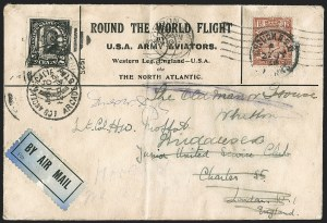 Sale Number 1204, Lot Number 1146, Trans-Oceanic Flights (Chronological by AAMC)1924, April 6-September 28, Round the World Flight by U.S. Army Aviators, Western Leg (AAMC 1025), 1924, April 6-September 28, Round the World Flight by U.S. Army Aviators, Western Leg (AAMC 1025)