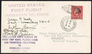Sale Number 1204, Lot Number 1147, Trans-Oceanic Flights (Chronological by AAMC)1925, August 31 -- Nonstop Flight, San Francisco to Hawaii (AAMC 1033a), 1925, August 31 -- Nonstop Flight, San Francisco to Hawaii (AAMC 1033a)