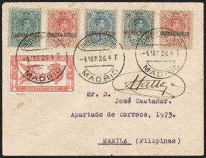 Sale Number 1204, Lot Number 1148, Trans-Oceanic Flights (Chronological by AAMC)1926 (April 4-5) Madrid-Manila Flight Cover (AAMC 1038), 1926 (April 4-5) Madrid-Manila Flight Cover (AAMC 1038)
