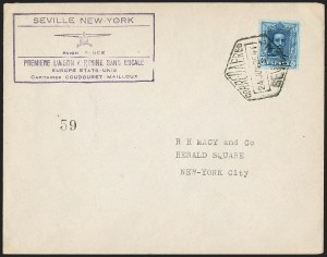 Sale Number 1204, Lot Number 1156, Trans-Oceanic Flights (Chronological by AAMC)1929, June 14, Attempted Seville-New York Non-Stop Flight (AAMC 1091A), 1929, June 14, Attempted Seville-New York Non-Stop Flight (AAMC 1091A)