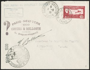Sale Number 1204, Lot Number 1160, Trans-Oceanic Flights (Chronological by AAMC)1930, September 1, First Direct Atlantic Ocean Flight, Paris to New York (AAMC 1117), 1930, September 1, First Direct Atlantic Ocean Flight, Paris to New York (AAMC 1117)