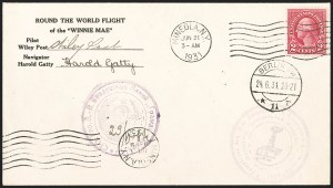 Sale Number 1204, Lot Number 1163, Trans-Oceanic Flights (Chronological by AAMC)1931, June 21, Post and Gatty Round the World Flight (AAMC 1141), 1931, June 21, Post and Gatty Round the World Flight (AAMC 1141)