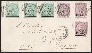 Sale Number 1204, Lot Number 244, Cook Islands thru IndiaDOMINICA, 1886, -1/2p on 6p Green, 1p on 1sh Deep Lilac Rose (13, 15; SG 15, 19), DOMINICA, 1886, -1/2p on 6p Green, 1p on 1sh Deep Lilac Rose (13, 15; SG 15, 19)