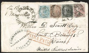 Sale Number 1204, Lot Number 253, Cook Islands thru IndiaINDIA, 1855, 4a Black on Bluish, 8a Rose on Bluish (9-10; SG 35-36), INDIA, 1855, 4a Black on Bluish, 8a Rose on Bluish (9-10; SG 35-36)