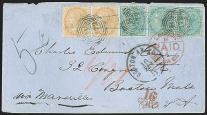 Sale Number 1204, Lot Number 257, Cook Islands thru IndiaINDIA, Used in Straits Settlements, 1865-67, 2a Orange, 4a Green (A25-A26; SG Z86-Z87), INDIA, Used in Straits Settlements, 1865-67, 2a Orange, 4a Green (A25-A26; SG Z86-Z87)