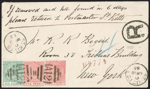 "Sale Number 1204, Lot Number 272, Jamaica thru St. HelenaST. CHRISTOPHER, 1884-86, 4p on 6p Green, Period After ""Pence"" (19a; SG 22a), ST. CHRISTOPHER, 1884-86, 4p on 6p Green, Period After ""Pence"" (19a; SG 22a)"