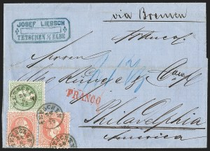 Sale Number 1204, Lot Number 294, Austria incl. Used in the LevantAUSTRIA, 1867-72, 3kr Green, 5kr Rose, Ty. II (28-29), AUSTRIA, 1867-72, 3kr Green, 5kr Rose, Ty. II (28-29)