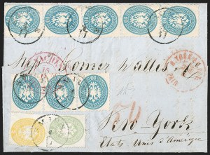Sale Number 1204, Lot Number 299, Austria incl. Used in the LevantAUSTRIA, Lombardy-Venetia, Used in Smyrna, 1863, 2s Yellow, 3s Green, 10s Blue (15-16, 18), AUSTRIA, Lombardy-Venetia, Used in Smyrna, 1863, 2s Yellow, 3s Green, 10s Blue (15-16, 18)
