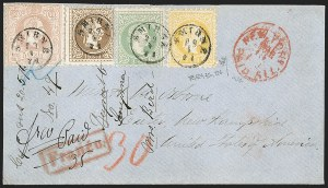 Sale Number 1204, Lot Number 302, Austria incl. Used in the LevantAUSTRIA, Offices in the Levant, 1867, 2sld Yellow, 3sld Green, 15sld Brown, 50sld Pale Red Brown (1a, 2, 5, 7l), AUSTRIA, Offices in the Levant, 1867, 2sld Yellow, 3sld Green, 15sld Brown, 50sld Pale Red Brown (1a, 2, 5, 7l)