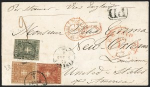 Sale Number 1204, Lot Number 377, Italian States thru Portugal & ColoniesITALIAN STATES, Tuscany, 1860, 20c Gray Blue, 40c Rose, 80c Pale Red Brown (20c, 21, 22), ITALIAN STATES, Tuscany, 1860, 20c Gray Blue, 40c Rose, 80c Pale Red Brown (20c, 21, 22)