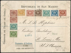 Sale Number 1204, Lot Number 397, Romania thru SwitzerlandSAN MARINO, 1877-99 Colorful First Issue Franking to United States, SAN MARINO, 1877-99 Colorful First Issue Franking to United States