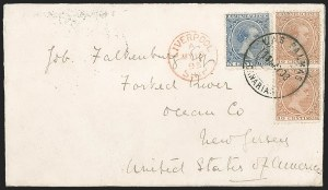 Sale Number 1204, Lot Number 401, Romania thru SwitzerlandSPAIN, Used in Canary Islands, 1889, 5c Blue, 10c Yellow Brown (257, 259), SPAIN, Used in Canary Islands, 1889, 5c Blue, 10c Yellow Brown (257, 259)