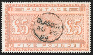 Sale Number 1204, Lot Number 486, Great BritainGREAT BRITAIN, 1882, £5 Orange (93; SG 137), GREAT BRITAIN, 1882, £5 Orange (93; SG 137)