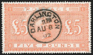 Sale Number 1204, Lot Number 487, Great BritainGREAT BRITAIN, 1882, £5 Orange (93; SG 137), GREAT BRITAIN, 1882, £5 Orange (93; SG 137)