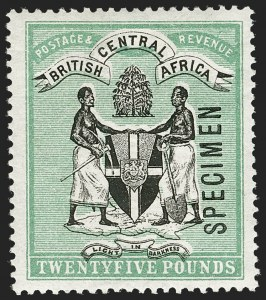 "Sale Number 1204, Lot Number 538, British Central Africa thru Canadian ProvincesBRITISH CENTRAL AFRICA, 1896, £25 Blue Green & Black, ""Specimen"" Overprint (42S; SG 42s), BRITISH CENTRAL AFRICA, 1896, £25 Blue Green & Black, ""Specimen"" Overprint (42S; SG 42s)"