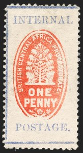 Sale Number 1204, Lot Number 541, British Central Africa thru Canadian ProvincesBRITISH CENTRAL AFRICA, 1898, 1p Vermilion & Ultramarine, Perf 12 (59; SG 57), BRITISH CENTRAL AFRICA, 1898, 1p Vermilion & Ultramarine, Perf 12 (59; SG 57)