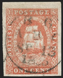 Sale Number 1204, Lot Number 542, British Central Africa thru Canadian ProvincesBRITISH GUIANA, 1853, 1c Vermilion, Without Line Above Value (8; SG 11), BRITISH GUIANA, 1853, 1c Vermilion, Without Line Above Value (8; SG 11)