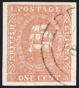 Sale Number 1204, Lot Number 543, British Central Africa thru Canadian ProvincesBRITISH GUIANA, 1853, 1c Red, Ty. I (9; SG 12), BRITISH GUIANA, 1853, 1c Red, Ty. I (9; SG 12)