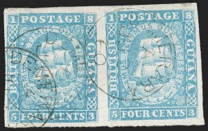 Sale Number 1204, Lot Number 545, British Central Africa thru Canadian ProvincesBRITISH GUIANA, 1860, 4c Blue, Numerals in Corners Framed (12; SG 21), BRITISH GUIANA, 1860, 4c Blue, Numerals in Corners Framed (12; SG 21)