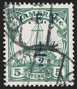 Sale Number 1204, Lot Number 548, British Central Africa thru Canadian ProvincesCAMEROON (British), 1915, -1/2p on 5pf Green, Double Surcharge (54a; SG B2b; Gibbs 2e), CAMEROON (British), 1915, -1/2p on 5pf Green, Double Surcharge (54a; SG B2b; Gibbs 2e)