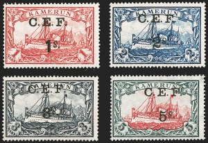 "Sale Number 1204, Lot Number 549, British Central Africa thru Canadian ProvincesCAMEROON (British), 1915, 1sh on 1m to 5sh on 5m Yacht Surcharges, ""S"" Inverted (62a-65a; SG B10a-B13a; Gibbs 10a-13a), CAMEROON (British), 1915, 1sh on 1m to 5sh on 5m Yacht Surcharges, ""S"" Inverted (62a-65a; SG B10a-B13a; Gibbs 10a-13a)"