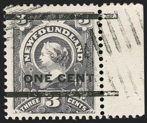 Sale Number 1204, Lot Number 551, British Central Africa thru Canadian ProvincesNEWFOUNDLAND, 1897, 3c on 1c Gray Lilac, Ty. III (77; SG 82), NEWFOUNDLAND, 1897, 3c on 1c Gray Lilac, Ty. III (77; SG 82)