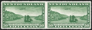 Sale Number 1204, Lot Number 552, British Central Africa thru Canadian ProvincesNEWFOUNDLAND, 1931, 50c Green Air Post, Horizontal Pair, Imperforate Between (C7a; SG 193a), NEWFOUNDLAND, 1931, 50c Green Air Post, Horizontal Pair, Imperforate Between (C7a; SG 193a)