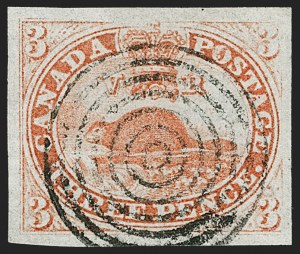 Sale Number 1204, Lot Number 554, Canada - 1851-59 Pence IssuesCANADA, 1851, 3p Orange Vermilion, Laid Paper (1a; SG 1), CANADA, 1851, 3p Orange Vermilion, Laid Paper (1a; SG 1)