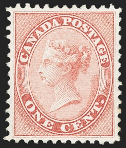 Sale Number 1204, Lot Number 579, Canada - 1859-64 Cents IssuesCANADA, 1859, 1c Rose (14; SG 29), CANADA, 1859, 1c Rose (14; SG 29)