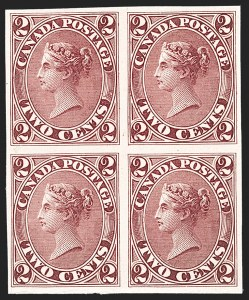 Sale Number 1204, Lot Number 587, Canada - 1859-64 Cents IssuesCANADA, 1864, 2c Claret, Trial Color Proof (Unitrade 20TCi), CANADA, 1864, 2c Claret, Trial Color Proof (Unitrade 20TCi)