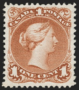 Sale Number 1204, Lot Number 593, Canada - 1868-76 Large QueensCANADA, 1868, 1c Brown Red (22; SG 55), CANADA, 1868, 1c Brown Red (22; SG 55)