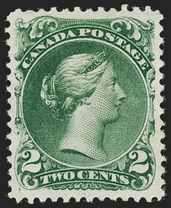 Sale Number 1204, Lot Number 596, Canada - 1868-76 Large QueensCANADA, 1868, 2c Deep Green, Thin Paper (24b; SG 48), CANADA, 1868, 2c Deep Green, Thin Paper (24b; SG 48)