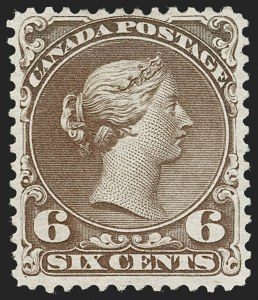 Sale Number 1204, Lot Number 601, Canada - 1868-76 Large QueensCANADA, 1868, 6c Dark Brown (27; SG 59), CANADA, 1868, 6c Dark Brown (27; SG 59)