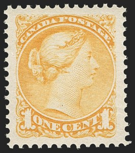 Sale Number 1204, Lot Number 608, Canada - 1870-97 Small QueensCANADA, 1870, 1c Yellow (35; SG 75), CANADA, 1870, 1c Yellow (35; SG 75)