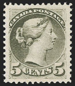 Sale Number 1204, Lot Number 610, Canada - 1870-97 Small QueensCANADA, 1876, 5c Slate Green (38; SG 85), CANADA, 1876, 5c Slate Green (38; SG 85)