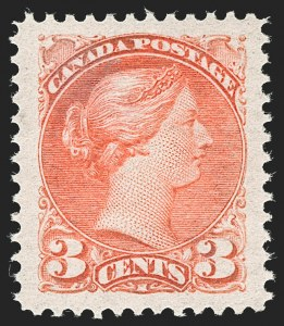 Sale Number 1204, Lot Number 613, Canada - 1870-97 Small QueensCANADA, 1888, 3c Bright Vermilion (41; SG 105), CANADA, 1888, 3c Bright Vermilion (41; SG 105)