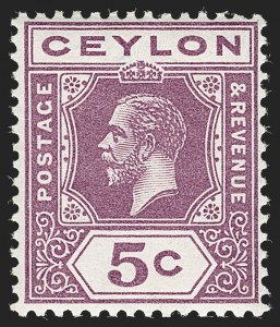 Sale Number 1204, Lot Number 715, Cayman Islands thru Falkland IslandsCEYLON, 1912, 5c Purple, Watermark Sideways (SG 303a), CEYLON, 1912, 5c Purple, Watermark Sideways (SG 303a)