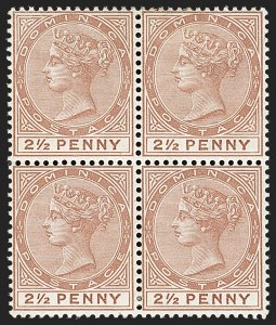 Sale Number 1204, Lot Number 720, Cayman Islands thru Falkland IslandsDOMINICA, 1879, 2-1/2p Red Brown (6; SG 6), DOMINICA, 1879, 2-1/2p Red Brown (6; SG 6)